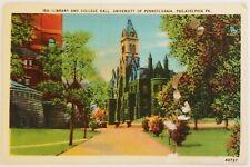 Library College Hall University of Pennsylvania Philadelphia Postcard
