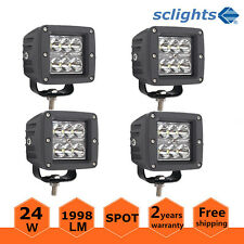 4pcs 3inch 24W LED Work Light Spot Cube Pods Offroad Boat Ford Lamp 4WD SUV US