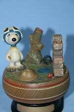 VINTAGE WWI ENGLISH FLYING ACE ON THE BATTLEFIELD SNOOPY MUSIC BOX ANRI 1968