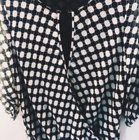 Vince Camuto Womens 3/4 Sleeve Keyhole Neckline Dotted Blouse Sz XS Navy Blue