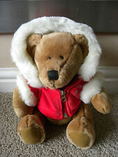 "RUSS BERRIE SNOWFLAKE BROWN CHRISTMAS TEDDY BEAR FAUX FUR HOODED COAT 8"" TALL"