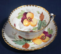 Tuscan Fine Bone China Hand Painted Pansy Flower Floral Tea Cup + Saucer Set