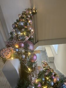 Luxury Design Christmas Garland 9ft/2.7m Silver Rose Gold Pink Decorations