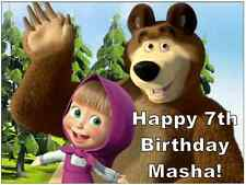 Masha And The Bear Personalised Cake Topper Edible Wafer Paper A4