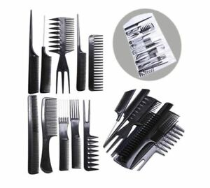 Comb Set 10 piece Hair Styling Brush Black Hairdressing Professional Barbers UK