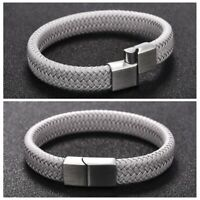 Men's Vintage Braided Leather Bracelets Bangle Stainless Steel Clasp
