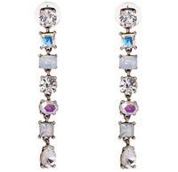 AURORA BOREALIS NORTHERN LIGHTS Crystal Rhinestone Gold Chandelier Drop Earrings