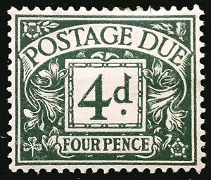 Great Britain 4d Postage Due Stamp 1936-37 Scott # J22 SG D23 MINT OG H