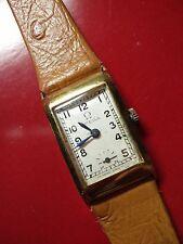 Beautiful 1930s 18K Gold Art Deco Omega Men's Tank Watch. T-17 Movement.