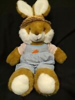 "20"" VTG Playful Pals Mervyns Bunny Rabbit Plush Gardener Outfit Straw Hat Animal"