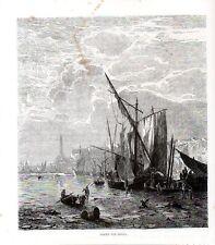 Stampa antica GENOVA Barche nel porto  e faro Lanterna 1876 Old print Engraving