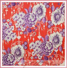 BonEful Fabric Cotton Quilt Orange Purple White Flower Shabby Chic Baby FQ SCRAP