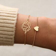 Bracelet Set Bangle Anklet Chain Party New Fashion 2pcs Women Gold Heart lotus