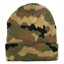 Woodland Green Knit Skull Hunting Camo Camouflage Ski Winter Beanie Hat Hats Cap