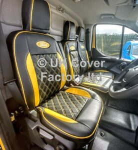 Ford Transit custom van seat covers yellow bentley premium leathrette Ford logo