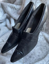1900s Antique Edwardian 1910s Shoes Black Leather Pointed Pump Spool Heels 10.5�