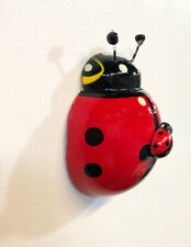 Lady Bug With a Baby Lady Bug Magnet Hand Carved Painted Brings Good Luck gift