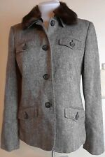 Michael Michael Kors Brown Tweed Jacket Womens Sz 8 Faux Fur Collar (removable)