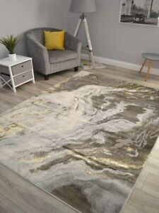 Grey Gold Marble Look A Like Rugs Small Extra Large Modern Carpets Soft Thick