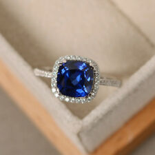 Real Blue Sapphire Gemstone Rings 2.2 ct Diamond Rings 14kt White Gold Size M P