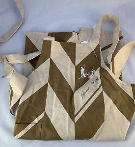 hanae mori japanese designer women apron 1 pockets Tan/Brown cotton full bib New