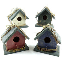 "Rustic Wood Bird House - 4.75"" - Indoor & Outdoor - Variety of Colors!"