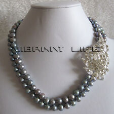 """18-19"""" 7-9mm Gray 2Row Freshwater Pearl Necklace X2730 Jewelry"""