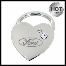 FORD HEART SWAROVSKI CRYSTALS Chrome Metal Ring Tag Fob Holder KEY CHAIN