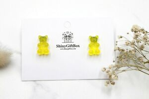 Gummy Bear / Novelty Candy Lollies Earrings Studs - Yellow