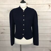 Vintage Deans Of Scotland Women's Cardigan Size S Navy Blue Boiled Wool Sweater