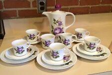 17 Piece Mitterteich Bavaria Germany Purple Rose Coffee / Tea Set