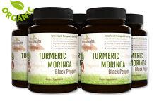 5 Bottles Turmeric Moringa with Black Pepper: Organic Curcumin Piperine: 500 mg