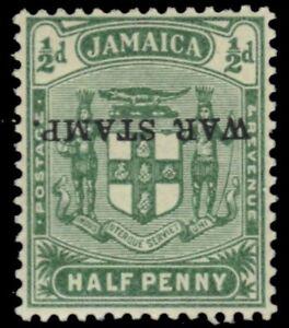 "JAMAICA MR1c  - Coat of Arms ""War Stamp"" Inverted Ovpt Error (pb36331) $130"