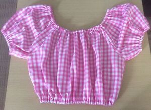 Pink gingham off the shoulder cropped top