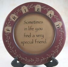 """Country Special Friend Wooden Plate 9.5"""" Farmhouse Tabletop Decor"""