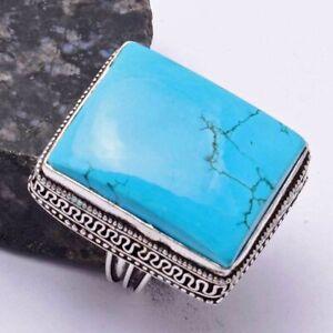 Turquoise Ethnic Handmade Antique Design Ring Jewelry US Size-7.5 AR 40156