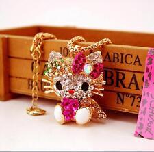 Valentine's Day present Betsey Johnson Pendant Rhinestone Bow cat Gold Necklace
