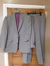 "Mens Gibson Stylish Grey & Pink Striped Suit ( Jkt  44"" Chest Trousers 38""..."