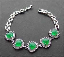 Gold Plate ICY Green JADE Love Heart Bangle Bracelet Diamond (Imitation) 320344