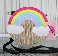 Luv Betsey Johnson Rainbow Canteen Crossbody Straw Purse Bag NWT