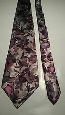 Pierre Cardin Men's Vintage Tie in Black Silver and Pink Abstract Pattern