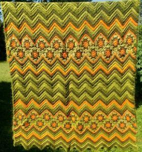 Vtg Retro 70s Green Orange Chevron Flowers Afghan Throw Hand Crochet Blanket