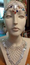 New 4 Pc India Arts Silvery Necklace, Earrings, & Belly Dancer Head Ornament