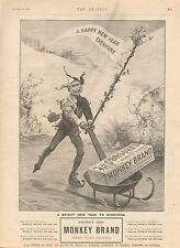 1899 ANTIQUE PRINT - ADVERT- MONKEY BRAND SOAP-ICE SKATING