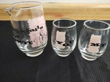 MCM bar glass set, three piece 'cocktails for two'