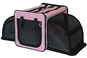 Pet Life Capacious Dual-Expandable Wire Folding Travel Pet Crate, Size XL, Pink
