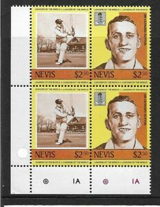 1984 Nevis - Leaders of the World - Cricketers - Corner Block - Mint and Never