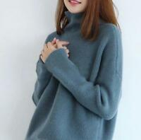 Women Warm wool Cashmere High-Necked Sweater Long Sleeve Loose Coat Tops HoT