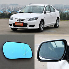 Rearview Mirror Blue Glasses LED Turn Signal with Power Heating For Mazda 3