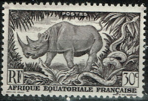 French Ecuatorial Africa Fauna Rinoceraus and Snake 1951 stamp MLH